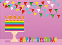A festive multicolored and iridescent big cake with candles. On a stand. Happy Birthday. Greeting card or invitation for a holiday. Vector Royalty Free Stock Images