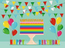 A festive multicolored and iridescent big cake with candles. On a stand. Happy Birthday. Greeting card or invitation for a holiday. Vector Stock Photos