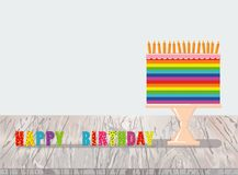 A festive multicolored and iridescent big cake with candles on a. Stand. Happy Birthday. Greeting card or invitation for a holiday. Vector on wooden background Stock Photo