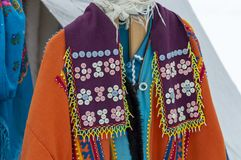 Festive national women`s clothing of local Khanty aborigines stock photos