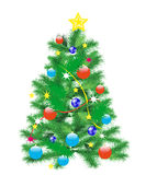 Festive natty fir tree. New year's fir tree with toy on white background Stock Image