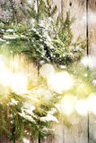 Festive Natural Wreath with Christmas Light on Wooden Background Stock Images