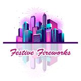 Festive neon city. Vector illustration of a night glowing neon city a multi-storey group of buildings in a bright glow of festive fireworks Royalty Free Stock Photography