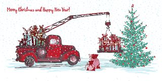 Festive New Year 2018 Card. Red Truck Crane With Fir Tree Decorated Red Balls Royalty Free Stock Photography