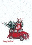 Festive New Year 2019 Card. Red Car With Fir Tree Decorated Red Balls On White Snow Background Royalty Free Stock Images