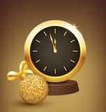 Festive New Year Background with Christmas Ball and Clock. Festive New Year Background with Golden Christmas Ball and Clock Royalty Free Stock Image