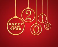 Festive New Year background .Vector illustration. Festive red background with golden christmas balls and Happy New Year text. Vector illustration. Holiday Stock Images