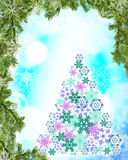 Festive New Year blue background with fir-tree shape Stock Photos