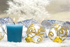 Festive new-year candle Royalty Free Stock Image