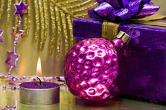 Festive new-year candle Stock Image