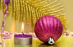Festive new-year candle Stock Photos
