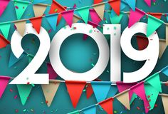 Festive 2019 new year card with colorful flags. 2019 new year card with colorful flags and paper confetti. Greeting card. Festive decoration. Vector vector illustration