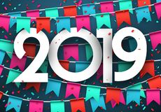 Festive 2019 new year card with colorful flags. 2019 new year card with colorful flags and paper confetti. Greeting card. Festive decoration. Vector stock illustration