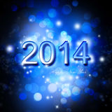 Festive New Year 2014 Card. Festie New Year Card,2014 on Shiny Blue Background Royalty Free Stock Images