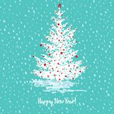 Festive New Year card. Fir tree with red balls on green blue snowy seamless background and text Happy New Year. Festive greeting card. Fir tree with red balls on Stock Photo