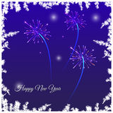 Festive New Year card. With fireworks, stars and framed by snowy branches on a blue background with text Stock Photography