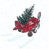 Festive 2018 New Year card. Red airplane with fir tree decorated red balls. Festive 2018 New Year card. Red airplane with fir tree decorated red balls White Royalty Free Stock Photography