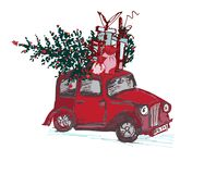 Festive New Year 2018 card. Red taxi cab with fir tree decorated red balls isolated on white background. Vector illustrations Stock Images
