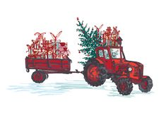 Festive New Year 2019 card. Red tractor with fir tree decorated red balls and holiday gifts isolated on white background. Vector illustrations Stock Photos