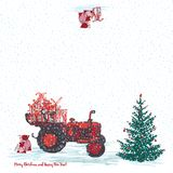 Festive New Year 2019 card. Red tractor with fir tree decorated red balls and holiday gifts White snowy seamless background. Vector illustrations Royalty Free Stock Photos