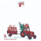 Festive New Year 2019 card. Red tractor with fir tree decorated red balls and holiday gifts White snowy seamless background. Vector illustrations Stock Photography