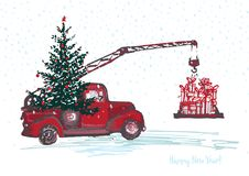 Festive New Year 2018 card. Red truck crane with fir tree decorated red balls. Festive New Year 2018 card. Red truck crane with fir tree decorated red balls Royalty Free Stock Photography