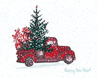 Festive New Year 2018 card. Red truck with fir tree decorated red balls vector illustration