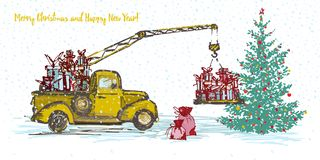 Festive New Year 2018 card. Yellow truck crane with fir tree decorated red balls. Festive New Year 2018 card. Yellow truck crane with fir tree decorated red Stock Photo