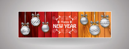 Festive new year and christmas bookmark. Colored festive bookmark with new years greeting Royalty Free Stock Photos