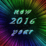 Festive New Year 2016 image in centre of colorful. Picture of New Year text in centre of colorful fireworks. Festive 2016 image on bright digital background Stock Photography