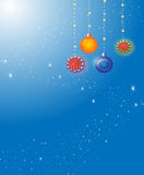 Festive New Year 's background. Blue, New Year 's  background with snowflakes,fir-tree spheres Stock Image