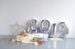 Festive New Year`s composition of 2019 stock image
