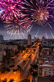 Festive New Year's fireworks over Havana, Cuba Stock Photos