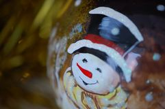 Festive New Year`s glass ball with the image stock photography