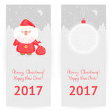 Festive New Year`s and Xmas greeting cards. Festive  greeting cards in gray-and-red colors with New Year`s ball and cute Santa Claus, on winter landscape Royalty Free Stock Photos