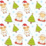 Festive new year winter seamless pattern. With cute cartoon sheep characters on snowflakes background Royalty Free Stock Images