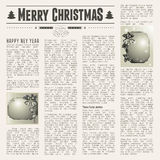 Festive newspaper. Christmas vintage newspaper with festive cards. vector illustration Stock Photography