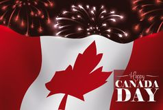 Festive Night of Canada Day with Fireworks and Waving Flag, Vector Illustration. Poster with a Canadian waving flag in a night with fireworks, celebrating Canada Stock Image