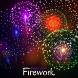 Festive night fireworks. Vector. Stock Photography