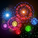 Festive night fireworks. Vector Stock Photo