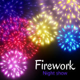 Festive night fireworks. Vector. Stock Images