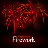 Festive night fireworks. Vector. Royalty Free Stock Photos