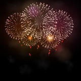 Festive night fireworks. Vector. Royalty Free Stock Image