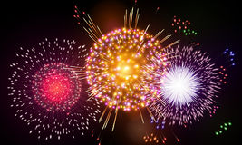 Festive night fireworks. Vector. Stock Image