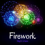 Festive night fireworks. Vector. Royalty Free Stock Photography