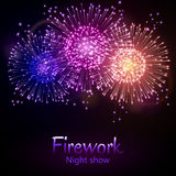 Festive night fireworks. Vector. Stock Photo