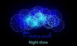 Festive night fireworks. Vector. Festive night fireworks on a dark background royalty free illustration