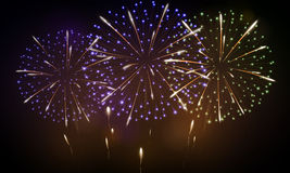 Festive night fireworks. Vector. Royalty Free Stock Photo