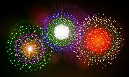 Festive night fireworks. Vector. Stock Photos