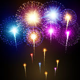Festive night fireworks. Vector. Festive fireworks on a dark background Royalty Free Stock Image